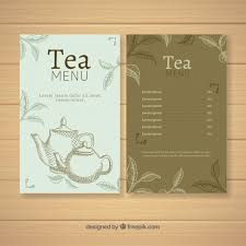 Tea Menu Template With Different Beverages Vector Free