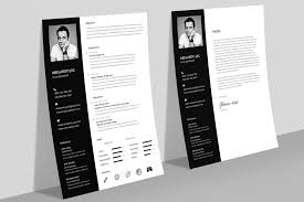 Classy Black White Resume Cv Template With Cover Letter Free Psd