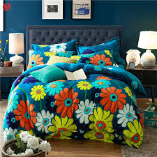 Home textile coffee flower coral velvet bedding set king queen ...