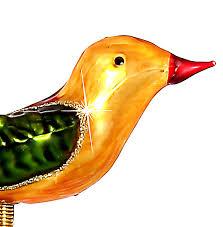Sikora Bs325 Christbaumschmuck Glas Ornament Clip Vogel Mit Federn Orange Grün L10cm