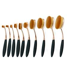 gold oval makeup brushes. 10pc rose gold make up brushes tooth-shape foundation powder brush oval makeup set
