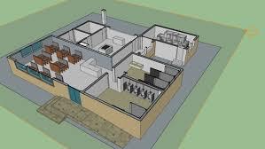 Restaurant kitchen layout 3d Blueprint 3d Restaurant With Kitchen 3d Model 3d Warehouse Sketchup Restaurant With Kitchen 3d Warehouse