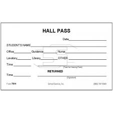 Hallway Pass Template Hall Pas Under Fontanacountryinn Com