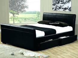 king size leather bed black faux storage drawer frame ft on within white limelight leath