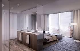 modern bedroom with bathroom. Modern Apartment Interiors Bedroom Bathroom Open Plan With S