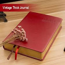 thick blank page sketch notebook red pu leather bound writing journal a6
