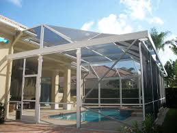 Pool Cage Designs Pool Screen Enclosure With Extra Awning Arround The Top Edge