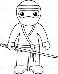 Small Picture Ninja Coloring Page For Kids stock vector art 486267262 iStock