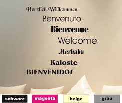 Wandtattoo Herzlich Willkommen Sprachen Sprüche Wandaufkleber