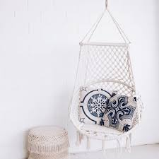 bondi macrame birdcage swing chair cream bean bags chairs homewares the by fairfax