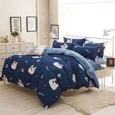 cute cats bedding set cartoon style kids students home textile blue duvet cover sets bedsheet pillowcase