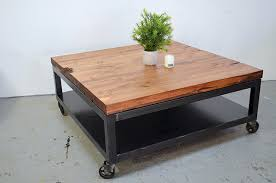 Industrial Coffee Table with Casters Industrial Coffee Table with Casters