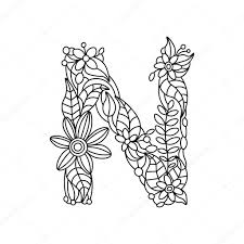 letter n coloring book for s vector stock vector