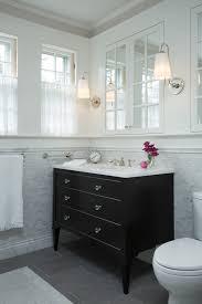 Cw Design Llc Mosaic Tile Bathroom With Black Furniture Vanity By Cw