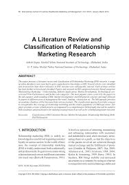 A Literature Review and Classification of Relationship Marketing ...