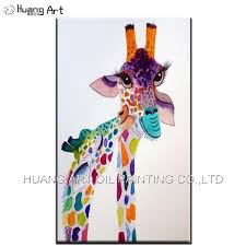hand painted contemporary animal oil picture color piece kiss giraffe oil painting on canvas for children