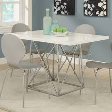 monarch specialties i 1046 white glossy chrome metal 36 inch x 48 inch dining table