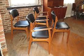 mid century danish modern set of 4 erik buck teak dining chairs o d mobler a s