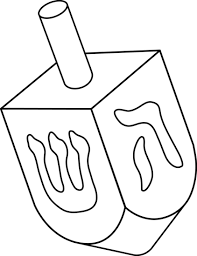 Small Picture Dreidel Colorable Line Art Free Clip Art