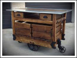rustic rolling kitchen island with stainless steel top furniture table slim trolley work microwave cart drawers