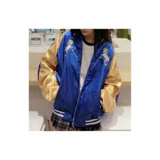 2017 new cute rainbow horse fl embroidery harajuku spring jacket women zipper casual loose long sleeve baseball coat size l color coat blue yellow