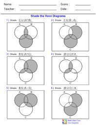 Shade Venn Diagram Venn Diagram 3set Shade Worksheet