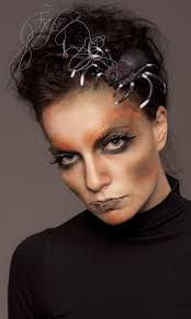 scary makeup women spider hair spider web