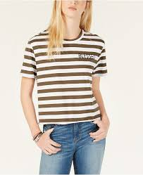 Rebellious One Size Chart Juniors Blessed Striped Raw Edge T Shirt