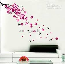 wholesale removable swallow and flowers wall stickers living room wall decor stickers pvc self adhesive 50x70cm  on removable wall decor stickers with wholesale removable swallow and flowers wall stickers living room