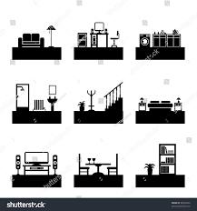 Icon For Interior Design Home Interior Design Silhouette Icons Easily Stock Vector