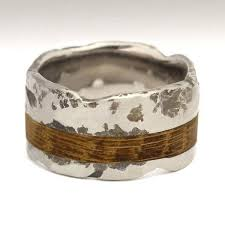 alternative to wedding ring. beautiful textured titanium wedding ring with wooden inlay by justin duance alternative to a