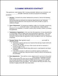 sample cleaning contract agreement 13 best images of cleaning service agreement sample house