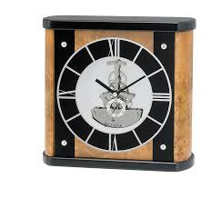 bulova mantel wood clock black hands silver dial b2028