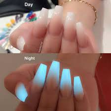 Glow In The Dark Ombre Neon Acrylic Nails Glow Nails