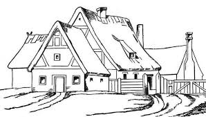 Small Picture House with Big Barn in Houses Coloring Page House with Big Barn