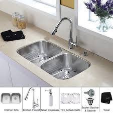 kraus kbu22 kpf1650 ksd30ch 32 inch undermount double bowl stainless steel kitchen sink with chrome kitchen faucet and soap dispenser expressdecor com
