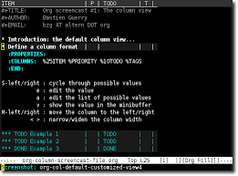 example of org emacs orgs column view