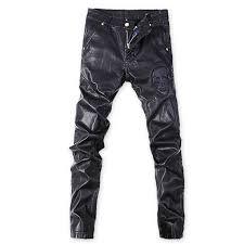 korean punk rock trousers black tight faux leather pants for men plus size 32 33 34