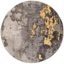 adirondack gray yellow 8 ft x 8 ft round area rug