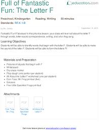 Sample Common Core Lesson Plan Extraordinary Full Of Fantastic Fun The Letter F Lesson Plan Education
