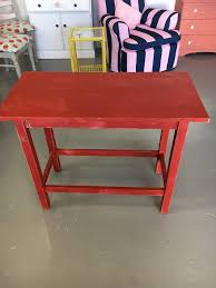 red hallway table. rustic red hallway table