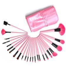 24 pieces professional makeup cosmetic brush set with bag pink