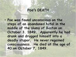 Image result for Poe died at the age of 40 in 1849.