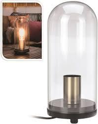 Bolcom Tafellamp In Glazen Stolp 27cm Industrieel Hout