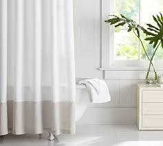 white linen shower curtain. alternate view; view white linen shower curtain