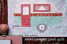 retro camper pixel quilt quilting free patterns