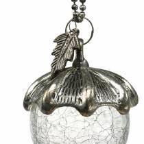 Christbaumschmuck Eichel Zum Hängen Metall Glas Silber 7cm
