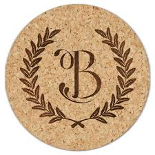 Custom cork coasters Wedding Favors Amazoncom Wheat Leaf Initial Cork Coaster Set Paperstyle