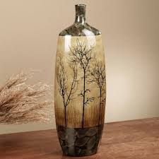 Ceramic Floor Vase With Tree Pattern And Leaves And Dark Chocolate Brown  Colors