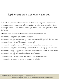 Top 8 Events Promoter Resume Samples 1 638 ?cb=1438223156